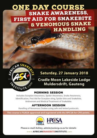 First Aid for Snakebite and Venomous Snake Handling course